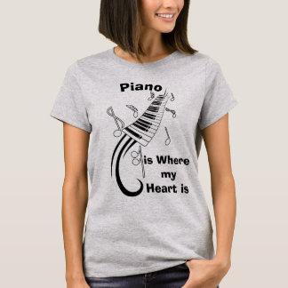 Piano is Where my Heart Humorous T-Shirt