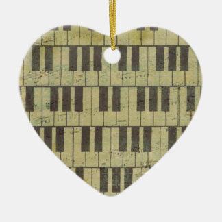 Piano Key Music Note Ceramic Heart Decoration