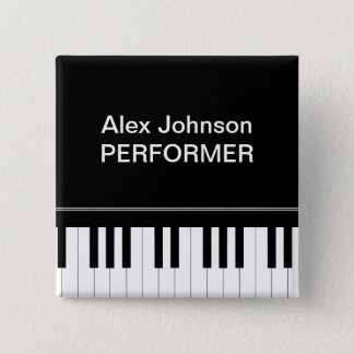 Piano keyboard 15 cm square badge