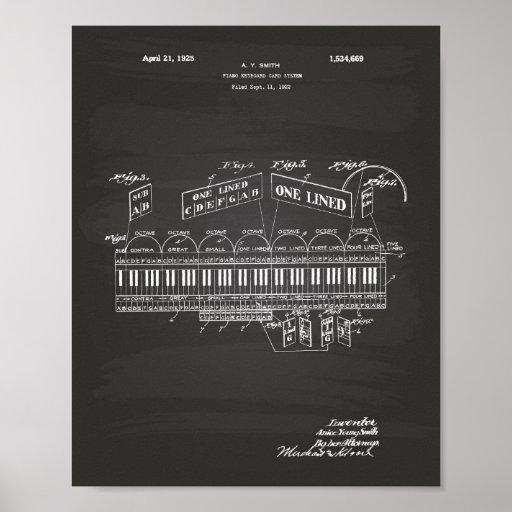 Piano Keyboard 1925 Patent Art Chalkboard Poster