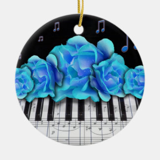 Piano Keyboard and Blue Roses Ornament