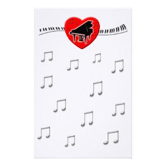 Piano Keyboard and Heart Custom Stationery