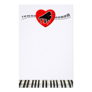 Piano Keyboard and Heart Personalised Stationery