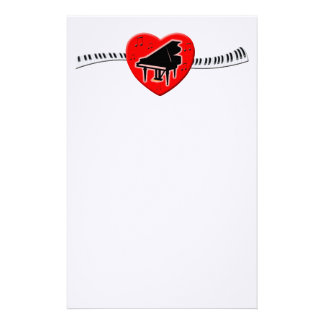 Piano Keyboard and Heart Stationery Design