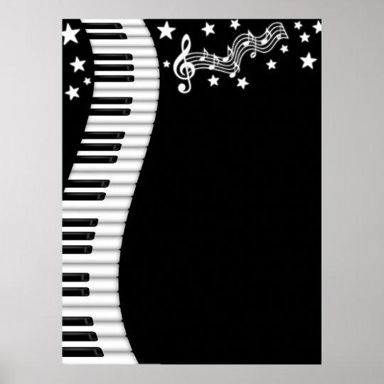Piano Keyboard and Music Bar Poster