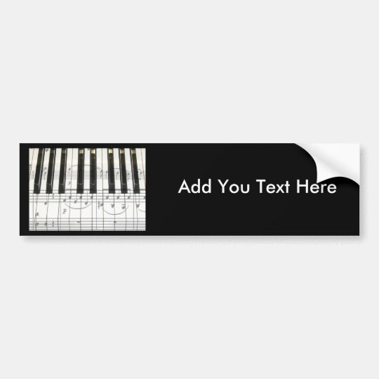 Piano Keyboard and Music Notes Bumper Sticker