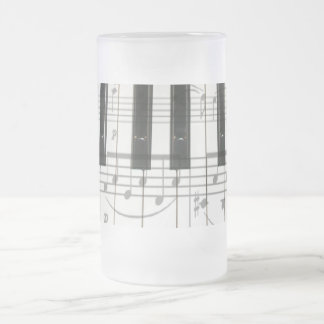 Piano Keyboard and Music Notes Frosted Glass Mug