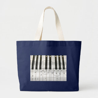 Piano Keyboard and Music Notes Large Tote Bag