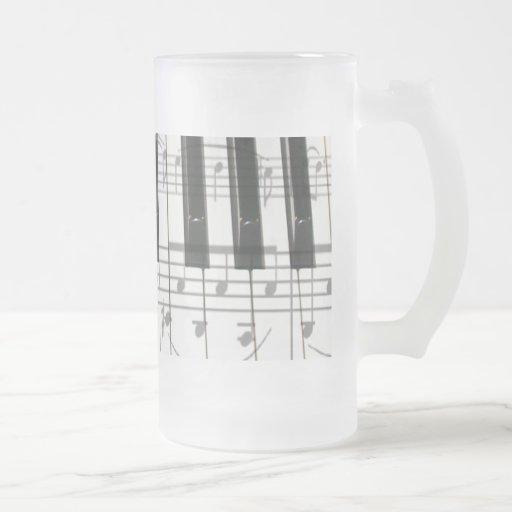 Piano Keyboard and Music Notes Mugs