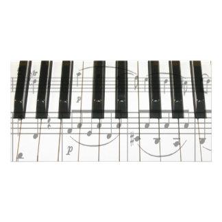 Piano Keyboard and Music Notes Photo Greeting Card