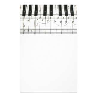 Piano Keyboard and Music Notes Stationery