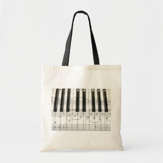 Piano Keyboard and Music Notes Tote Bag