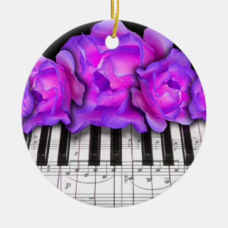 Piano Keyboard and Roses Christmas Ornament