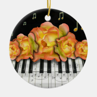 Piano Keyboard and Roses Ornament