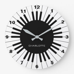 Piano Keyboard, Black and White Clock