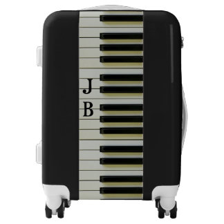 Piano Keyboard Black White Personalized Initials Luggage