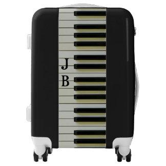 Piano Keyboard Black White Personalized Initials Luggage