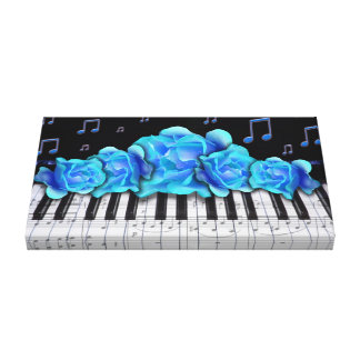 Piano Keyboard Blue Roses and Notes Gallery Wrapped Canvas