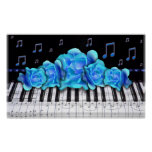 Piano Keyboard Blue Roses Colossal Size Poster