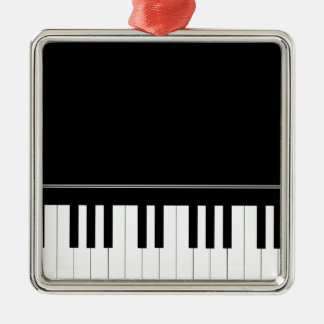 Piano keyboard square metal christmas ornament