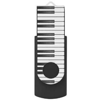 Piano Keyboard Design Flash Drive Swivel USB 2.0 Flash Drive