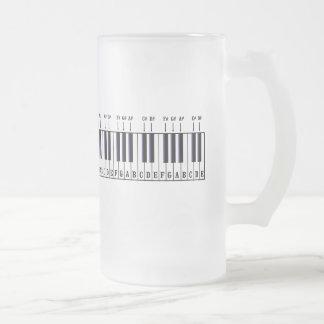 Piano Keyboard Diagram Frosted Glass Mug