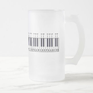 Piano Keyboard Diagram 16 Oz Frosted Glass Beer Mug