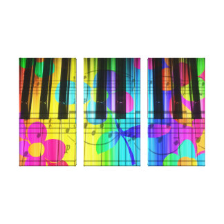 Piano Keyboard Flowers Psychedelic Stretched Canvas Print