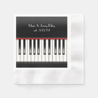Piano Keyboard for anniversary party Disposable Napkins