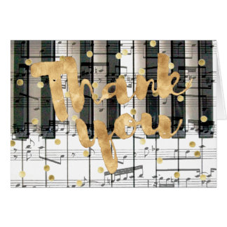 piano keyboard golden thank you calligraphy card