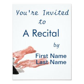 Piano keyboard hands playing keys design 11 cm x 14 cm invitation card