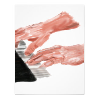 Piano keyboard hands playing keys design personalized invitations