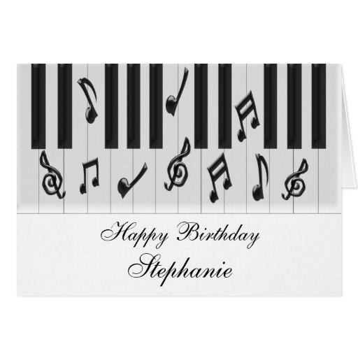 Piano Keyboard Just Add Name Birthday Greeting Cards