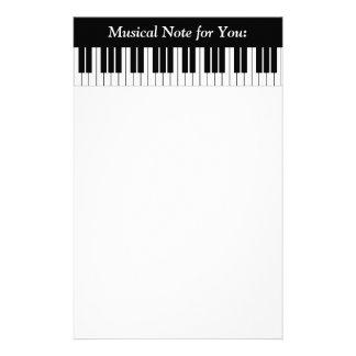 Piano Keyboard Keys, Black and White Custom Stationery
