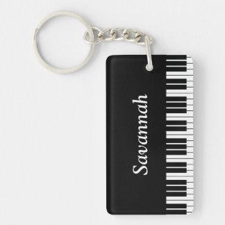 Piano Keyboard Keys, Black and White Single-Sided Rectangular Acrylic Key Ring