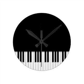Piano Keyboard Keys Round Clock