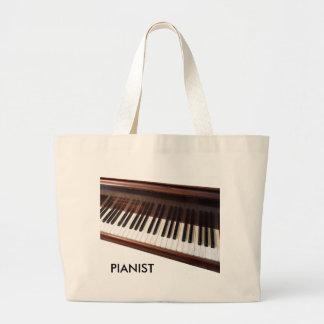 Piano keyboard large tote bag