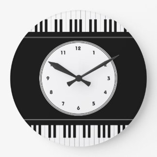 Piano keyboard music wall clock