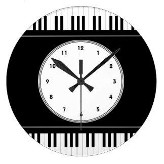 Piano keyboard music wall clock