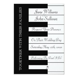 "Piano Keyboard Music Wedding Invitation 5"" X 7"" Invitation Card"