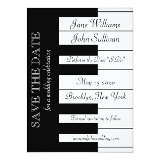 Piano Keyboard Music Wedding Save The Date Invite