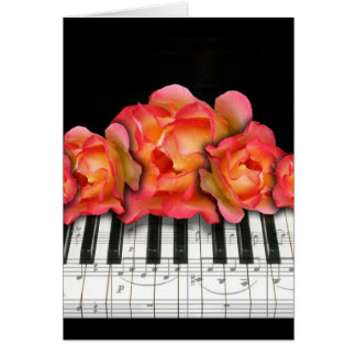 Piano Keyboard Roses and Music Notes