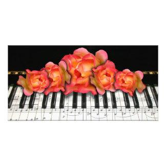 Piano Keyboard Roses and Music Notes Custom Photo Card