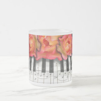 Piano Keyboard Roses and Music Notes Frosted Glass Coffee Mug