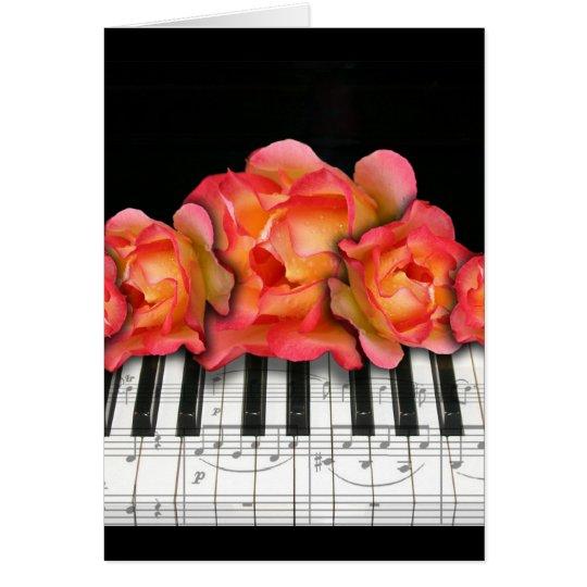 Piano Keyboard Roses and Music Notes Greeting Card