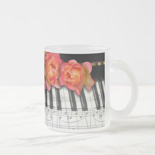 Piano Keyboard Roses and Music Notes Mugs