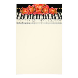 Piano Keyboard Roses and Music Notes Customized Stationery