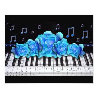 Piano Keyboard Roses Invitation and Music Notes