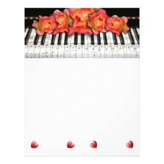 Piano Keyboard Roses Music Notes and Hearts 21.5 Cm X 28 Cm Flyer