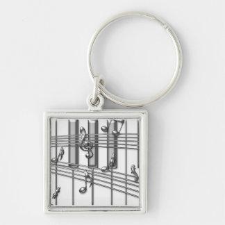 Piano Keyboard Silver Music Notes Key Ring